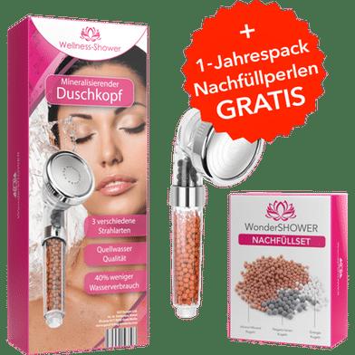 wellness shower duschkopf gratis nachfüllpack 1 jahresvorrat günstige alternative